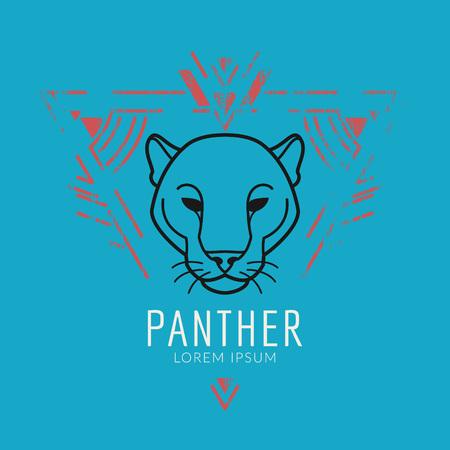 Panther linear Kopf in Stammes frame..Vector bunte Illustration in flachen Stil mit Grunge-Textur Standard-Bild - 59380290