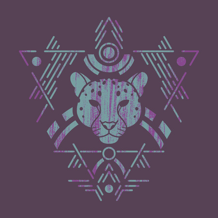 Leopard linear head in tribal frame.Vector colorful illustration in flat style with grunge texture