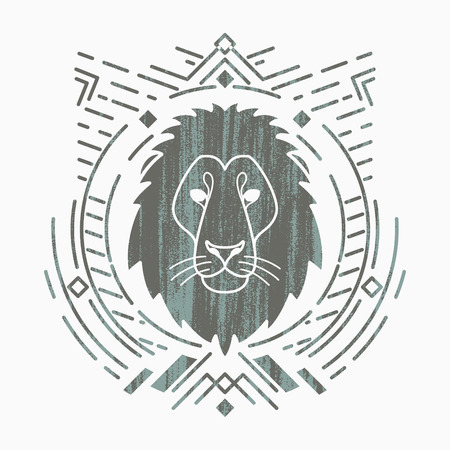 Lion linear head in tribal frame.Vector colorful illustration in flat style with grunge texture Ilustracja