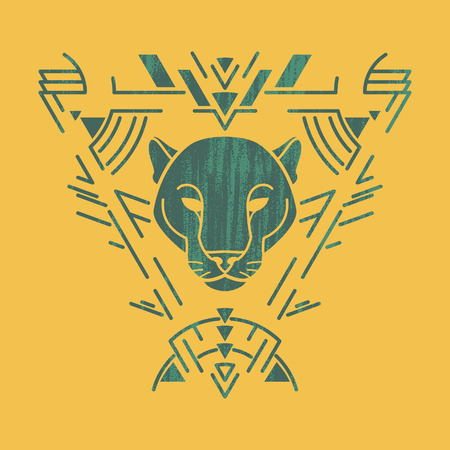 Panther linear head in tribal frame.Vector colorful illustration in flat style with grunge texture