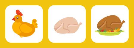 Huhn Symbol flach set.Vector bunte Illustration Standard-Bild - 59380294