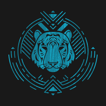 Tiger linear head in tribal frame.Vector colorful illustration in flat style with grunge texture