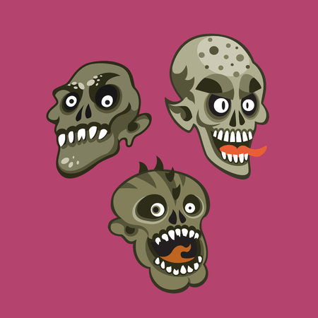 Zombie head character set.Vector colorful illustration in cartoon style. Ilustracja