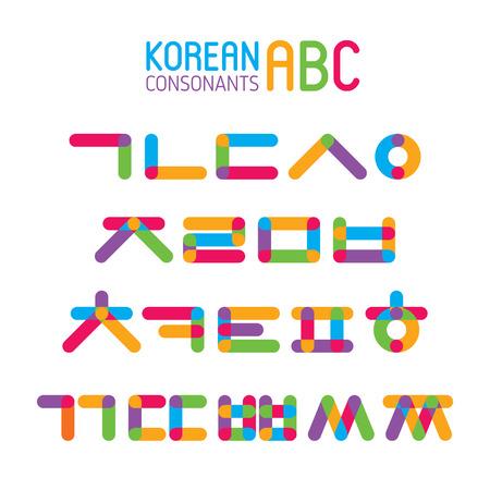 Korean vector alphabet set.Hangul consonants in flat style