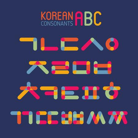 Korean vector alphabet set.Hangul consonants in flat style Ilustracja