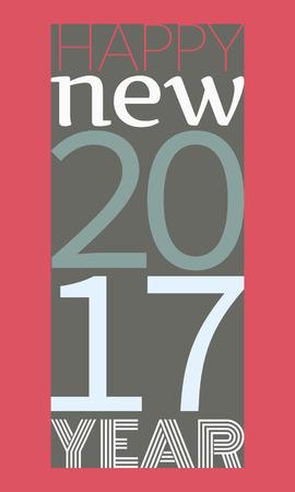 Frohes neues Jahr 2017 typography.Vector Illustration in flachen Stil Standard-Bild - 66196115