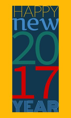 Happy new year 2017 typography.Vector illustration in flat style
