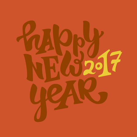 Happy new 2017 year hand drawn lettering.Modern typography poster, greeting card or print invitation.Vector colorful illustration Ilustracja