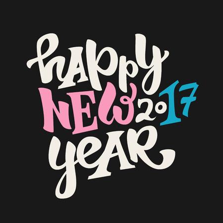 Glückliche neue 2017-jährige Hand gezeichnete Beschriftung Modernes Typografieplakat, Grußkarte oder Druckeinladung Bunte Illustration des Vektors Standard-Bild - 68970839