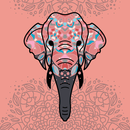 Elephant head with a floral ornament. Colorful vector illustration in flat line style. Standard-Bild - 114960424