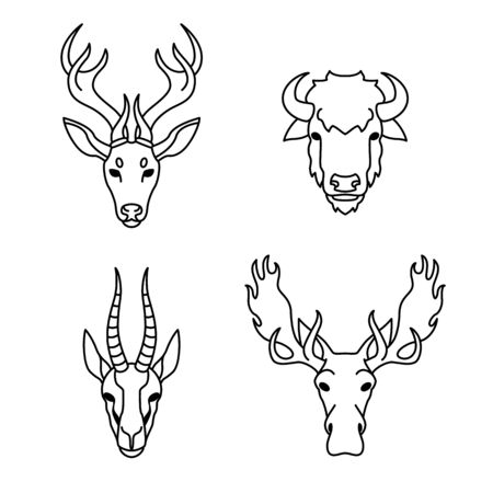 Animals with horns in flat style Ilustracja