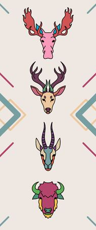 Animals with horns in colorful flat style Ilustracja