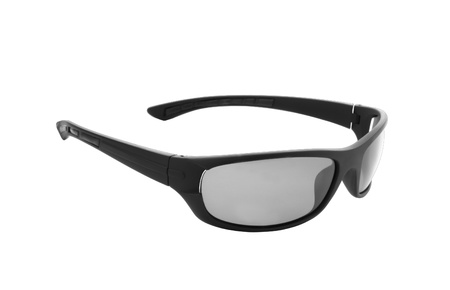 shades of grey: Isolated picture of black sunglasses on a white background