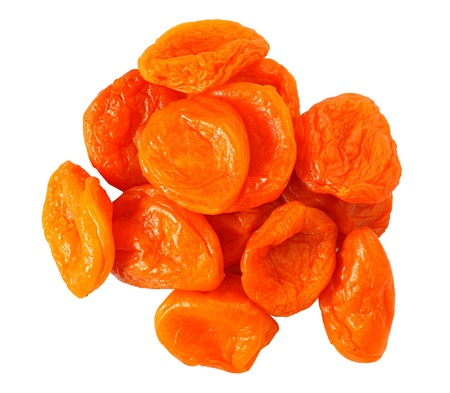 photo few dried apricots isolated on white background photo