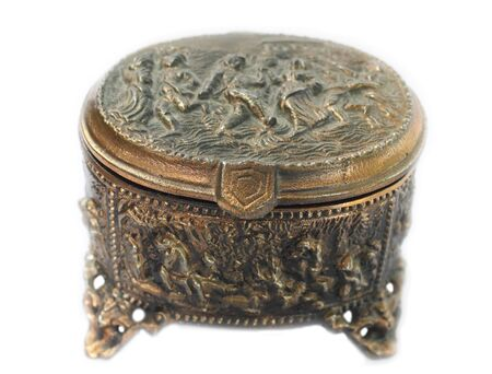 antique jewelry: copper box for jewelry on white background