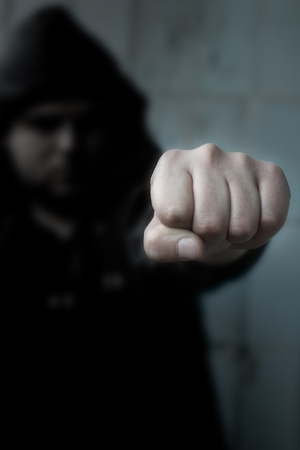 man with fist. abstract photo. photo