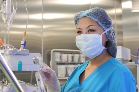 nurse in the work with medical equipment