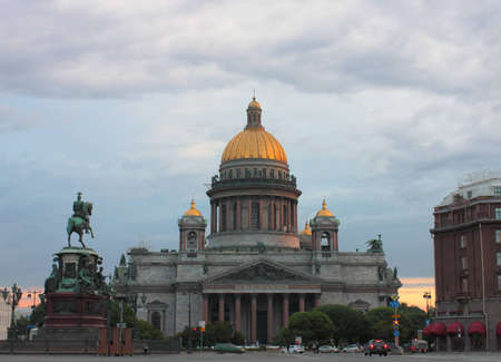 photo St. Isaacs Cathedral in St. Petersburg. It can be seen scowling low night sky photo