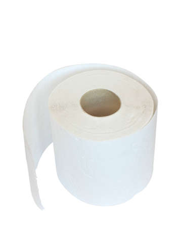 multilayered: Roll of white multilayered toilet paper  isolated on white with clipping patch.