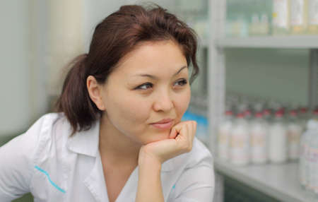 Portrait of a pharmacist in the medical warehouse photo