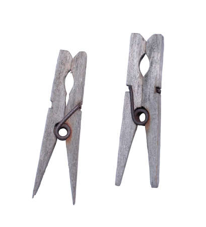 isolated photo of old wooden underwear clothespins photo