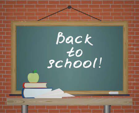 text back to school on a school blackboard. Illustration. illustration