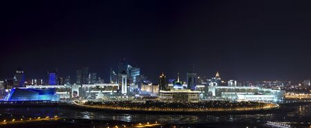 astana: Panorama of the cultural, commercial and social center of Astana  In the center of the canvas is the presidential palace  Ak Orda