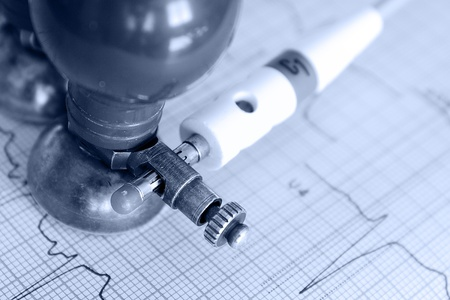 Medical concept  Monochrome photos of electrocardiogram photo