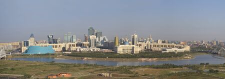astana: Central part of the capital of Kazakhstan  left bank of the River Ishim   Panorama in high resolution   Editorial