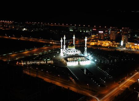astana: View of the largest mosque in Astana, a bird Stock Photo