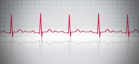 紅色的心電圖波與反射