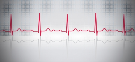 taking pulse: red ECG wave with reflection