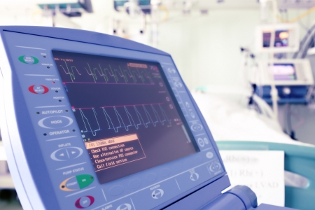 medical technical equipment: Heart monitor in a hospital room  Stock Photo