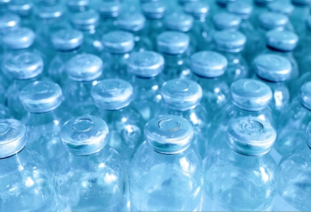 sterile: bottles of medicine in a row