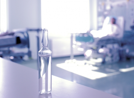 electrolyte: in the hospital  Ampoule against the hospital room  Stock Photo