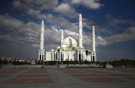 astana: Mosque under dark clouds  Kazakhstan  Astana
