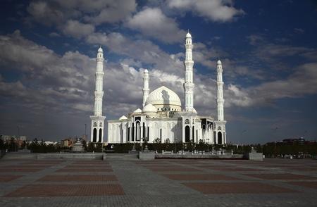 islamic wonderful: Mosque under dark clouds  Kazakhstan  Astana