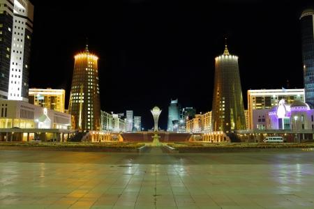 astana: Central part of Astana in the night  Kazakhstan  Stock Photo