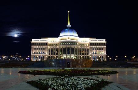 astana: Ak Orda  Presidential palace in moonlight night