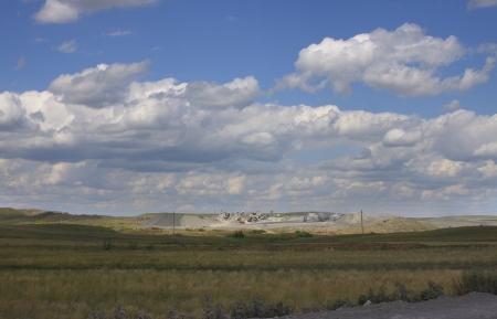 sand quarry: steppe landscape with quarry