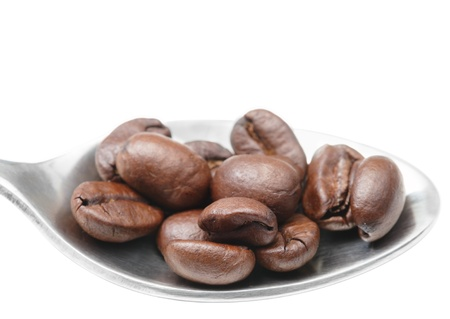 large bean: metal spoon with coffee beans