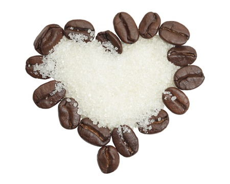 coffee beans and sugar in heart shape