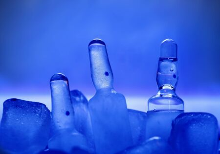 medical vials on ice  photo photo