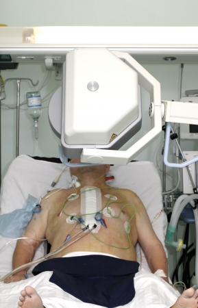 icu: production of X-rays in the ICU Stock Photo