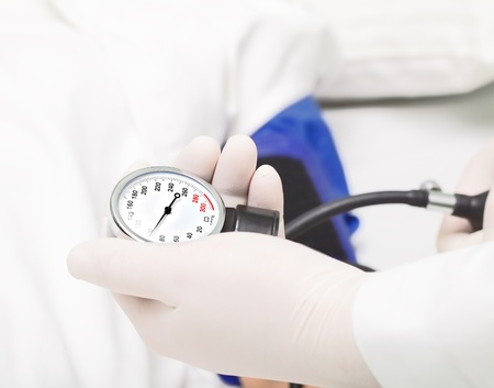 blood pressure gauge: Measuring blood pressure in the hospital