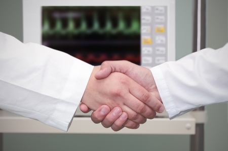 team hands: handshake in the hospital