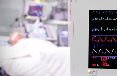 monitor in the room  intensive care unit  photo