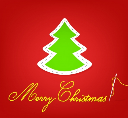 spruce thread: Christmas spruce  Hand embroidery  Vector