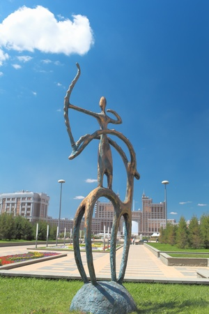 astana: Statue in the Kazakh national style in the center of Astana  Stock Photo