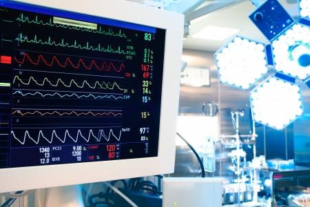 鑑於現代手術室監視器和手術燈 版權商用圖片